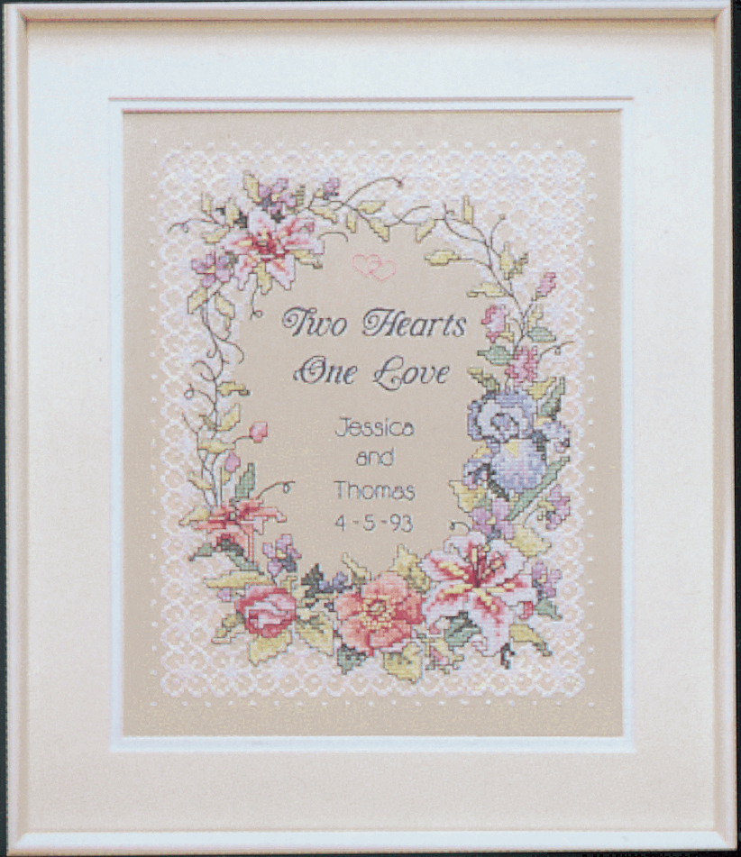 Picture of Stamped Cross Stitch: Wed/Rec: Two Hearts