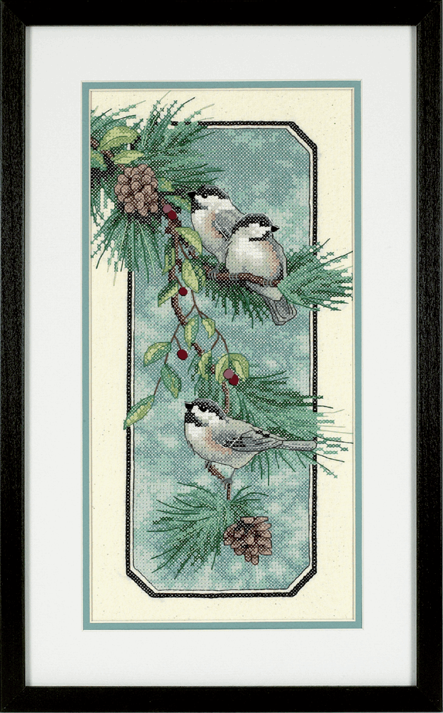 Picture of Stamped Cross Stitch: Chickadees on a Branch