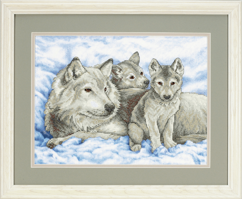 Picture of Stamped Cross Stitch: Mother Wolf and Pups