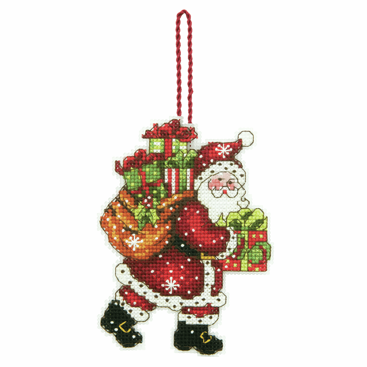 Picture of Counted Cross Stitch Kit: Ornament: Santa with Bag