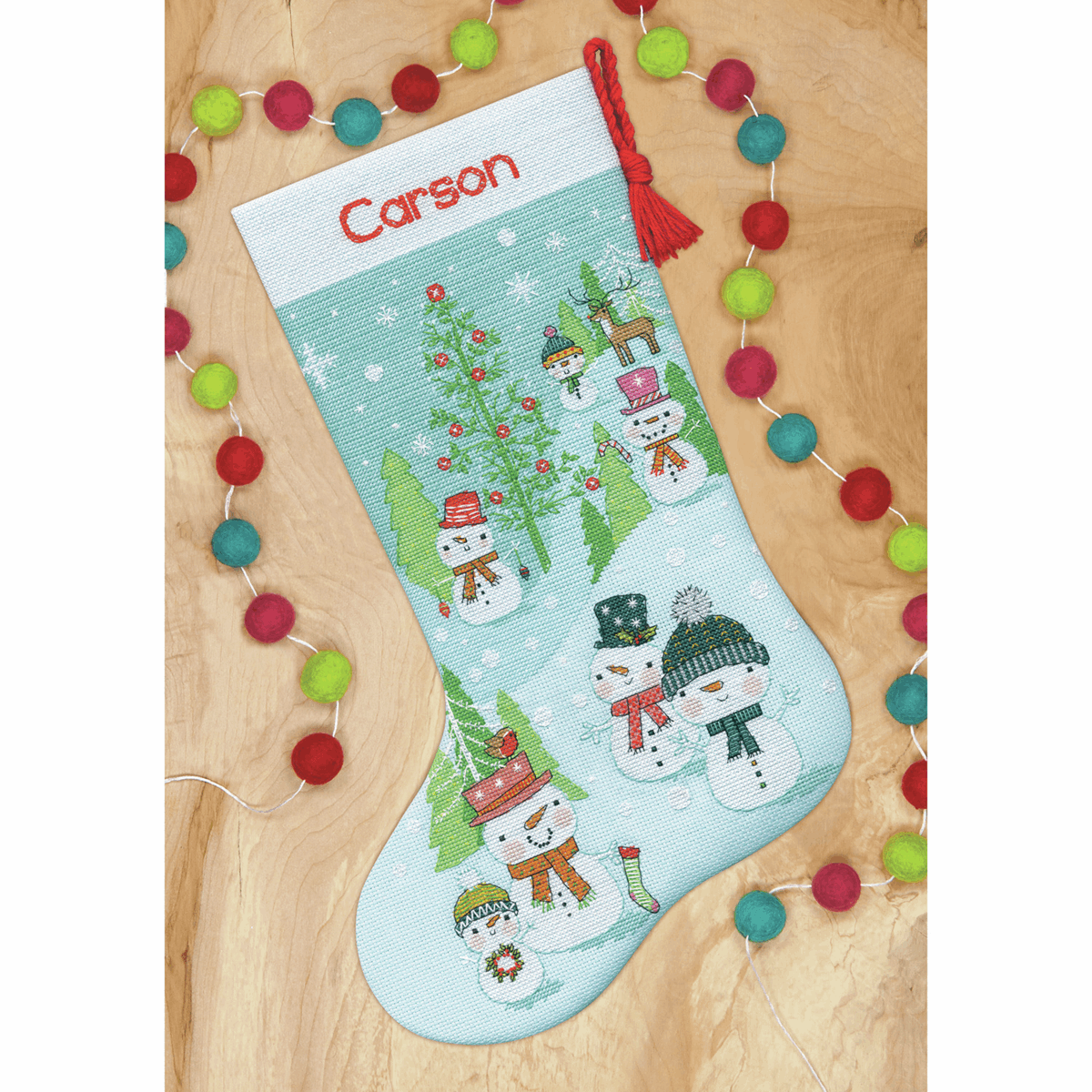 Picture of Counted Cross Stitch: Snowman Family Stocking