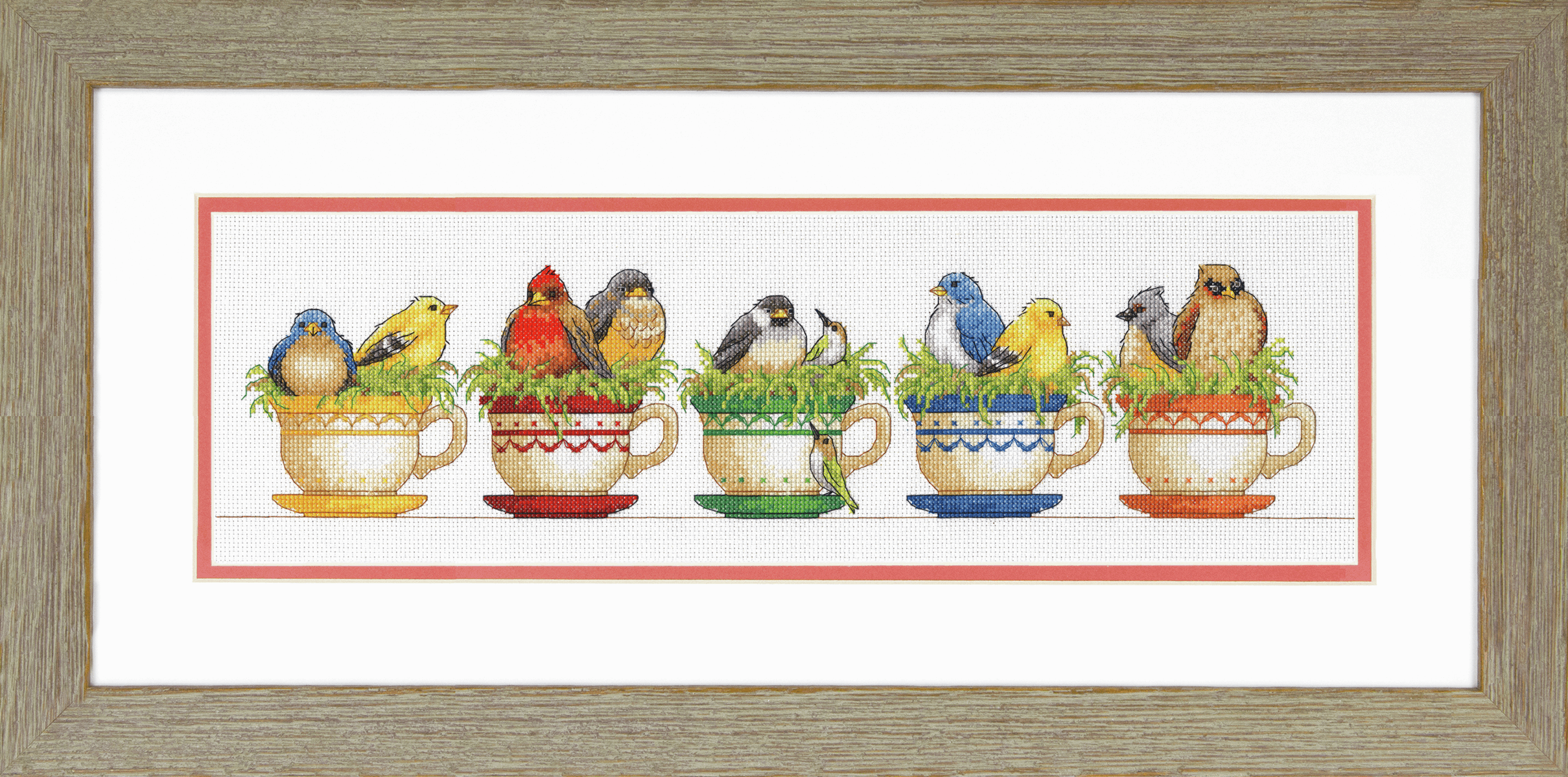 Picture of Counted Cross Stitch Kit: Teacup Birds