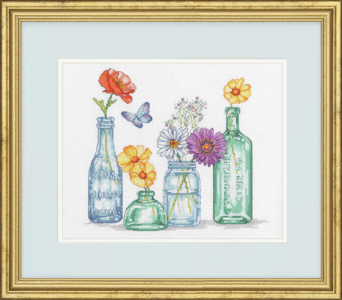 Picture of Counted Cross Stitch Kit: Wildflower Jars