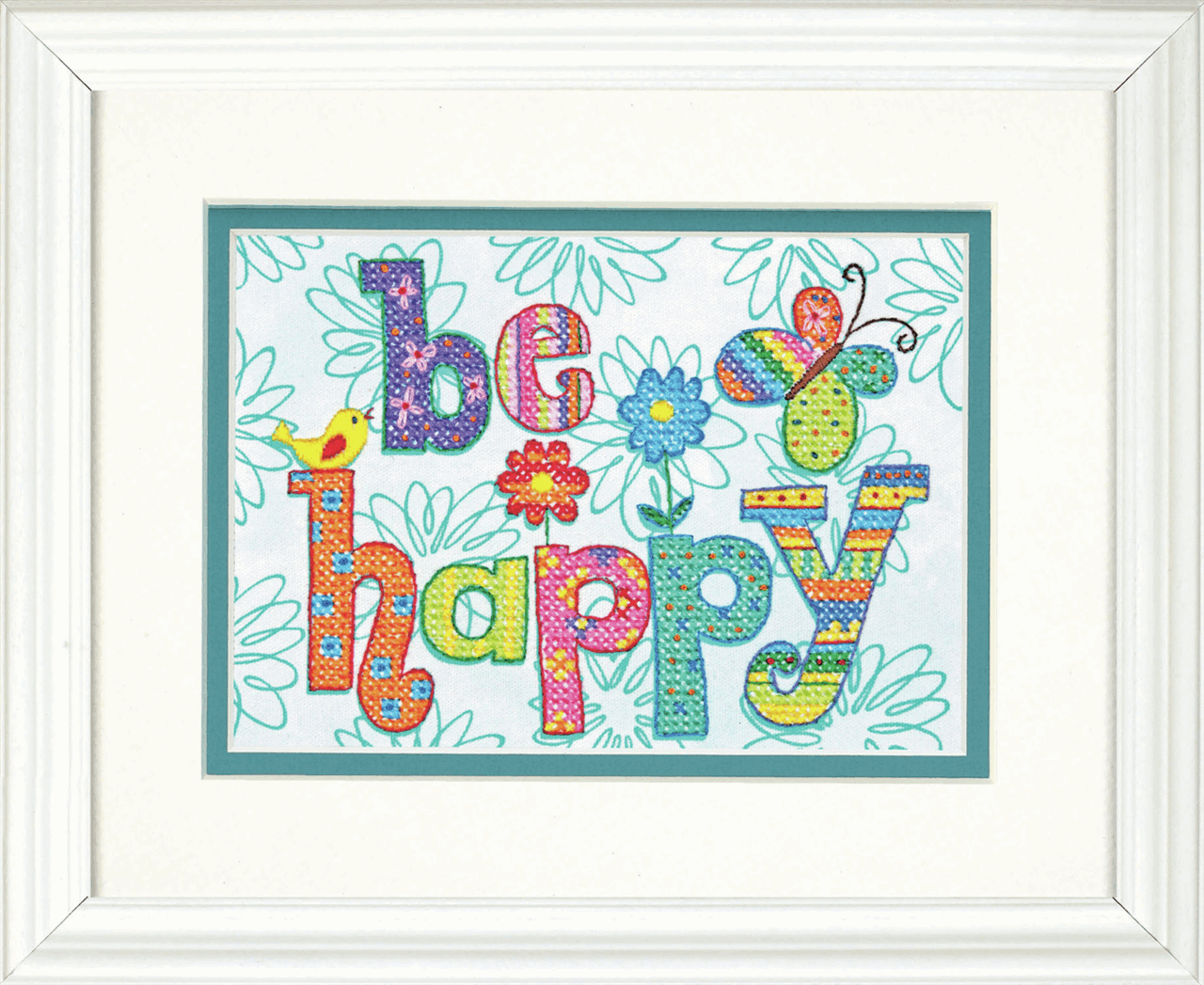 Picture of Stamped Cross Stitch: Be Happy