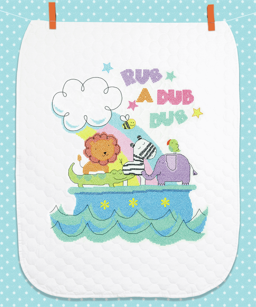 Picture of For Baby: Printed Cross Stitch Quilt: Rub-a-Dub