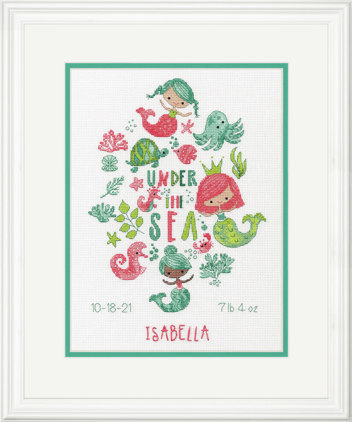 Picture of Counted Cross Stitch Kit: Birth Record: Under the Sea