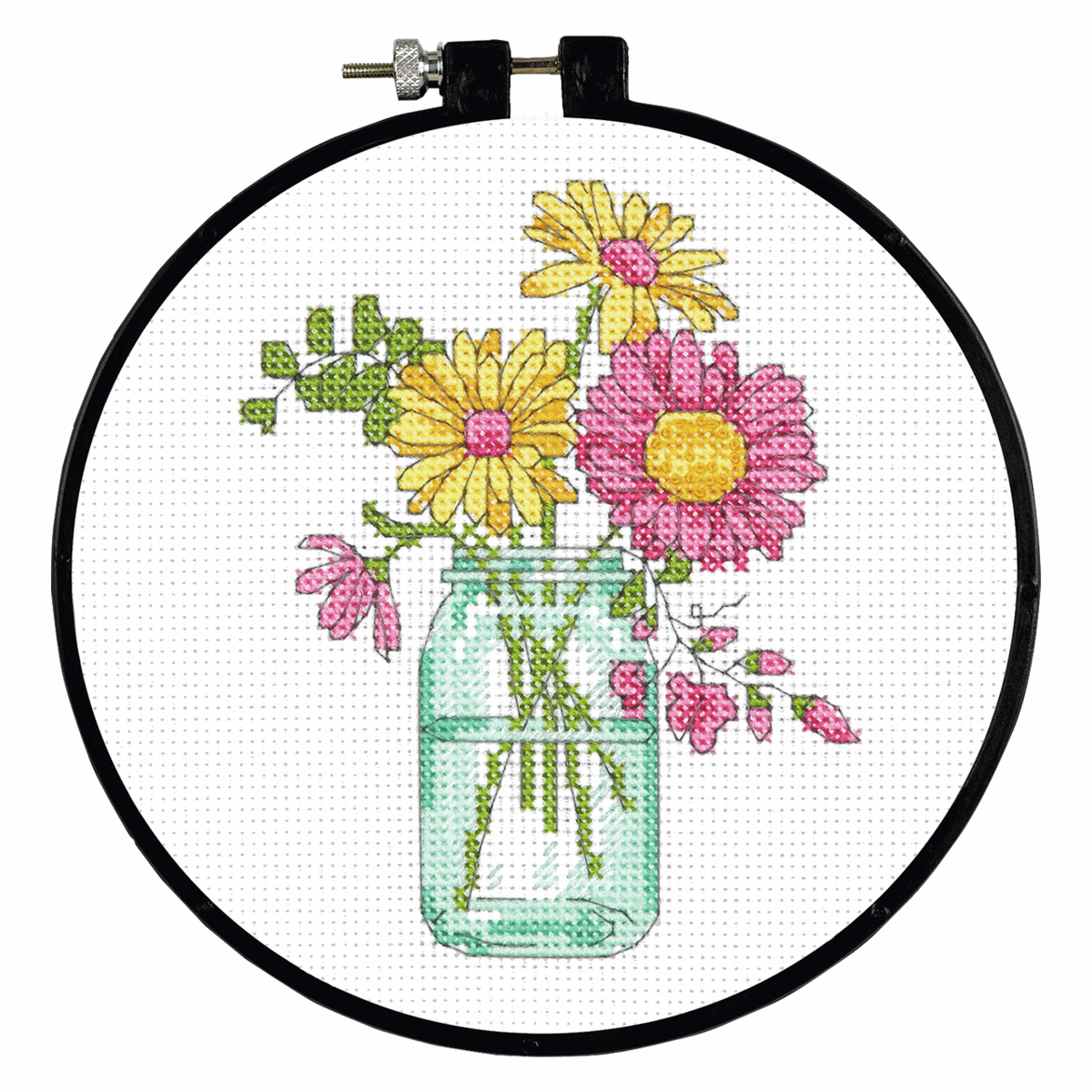 Picture of Learn-a-Craft: Counted Cross Stitch Kit with Hoop: Summer Flowers