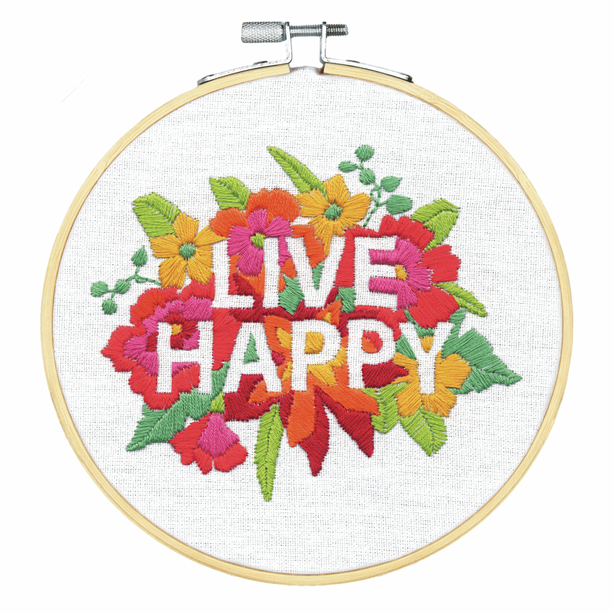 Picture of Crewel Embroidery Kit: with Hoop: Live Happy