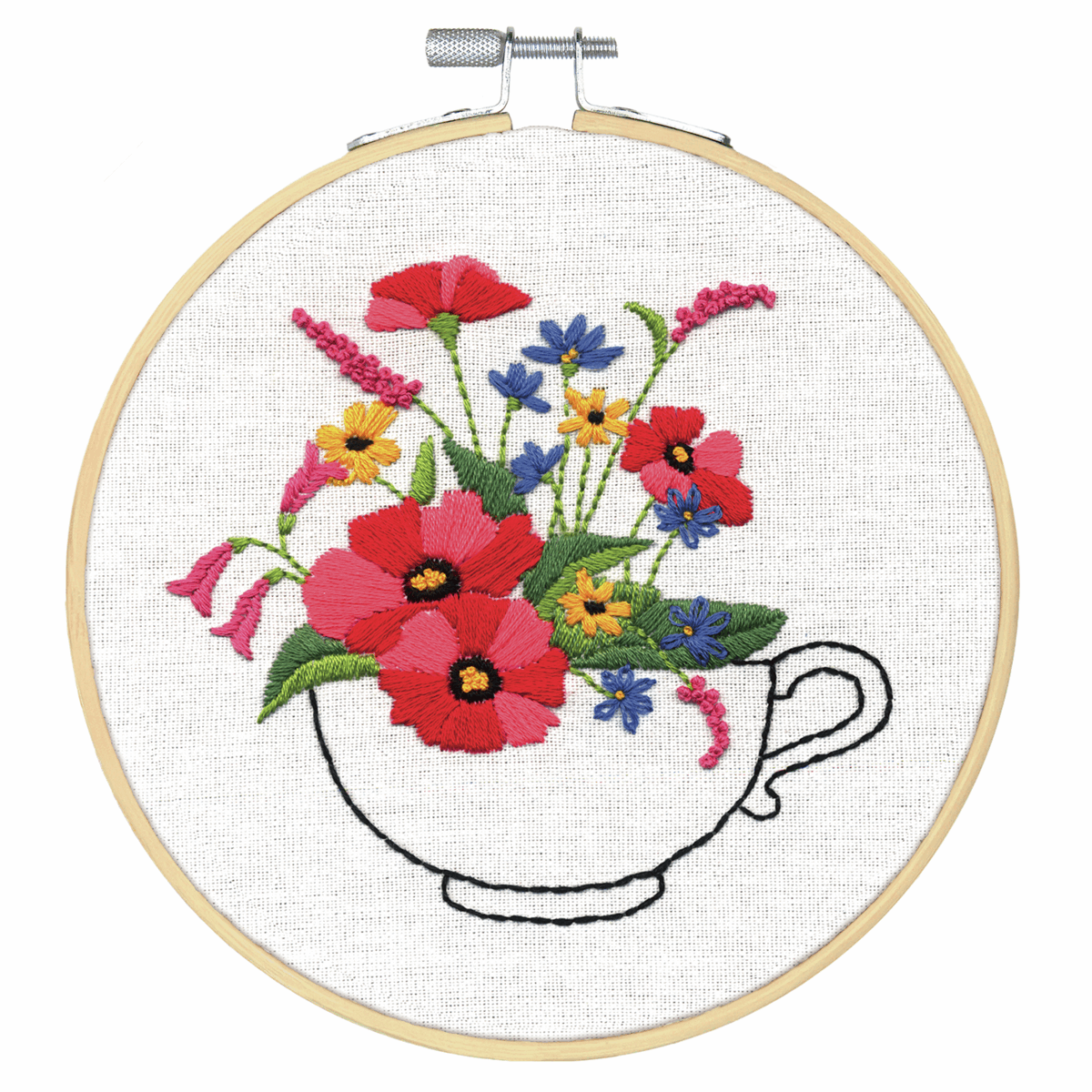 Picture of Crewel Embroidery Kit: with Hoop: Cup of Flowers