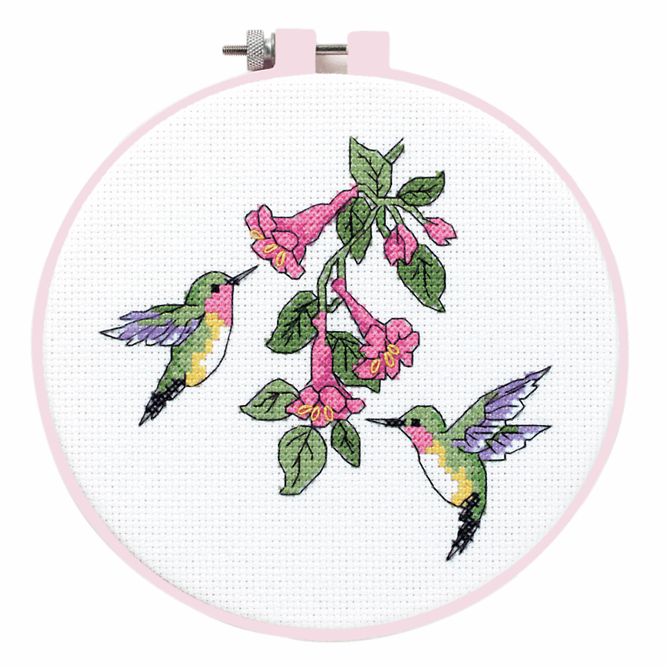 Picture of Learn-a-Craft: Counted Cross Stitch Kit with Hoop: Hummingbird Duo