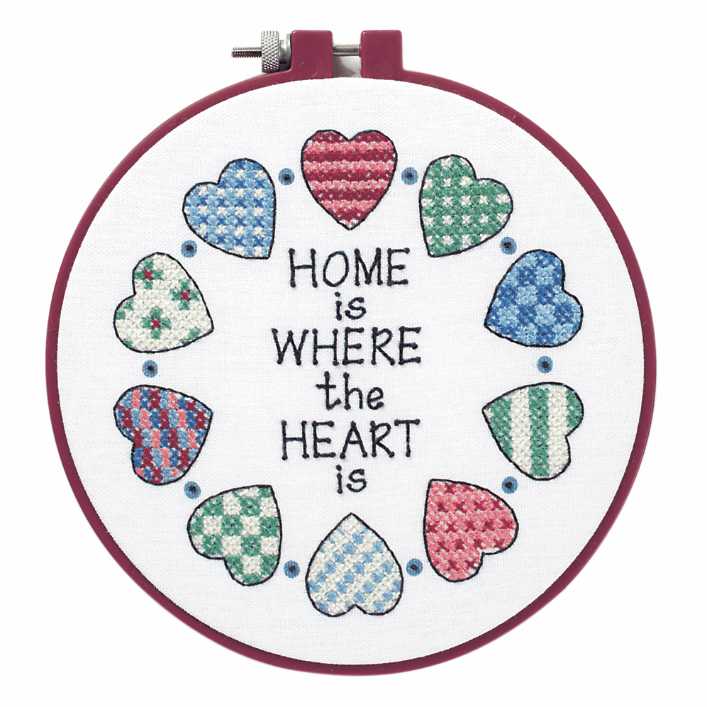 Picture of Learn-a-Craft: Stamped Cross Stitch Kit with Hoop: Home and Heart