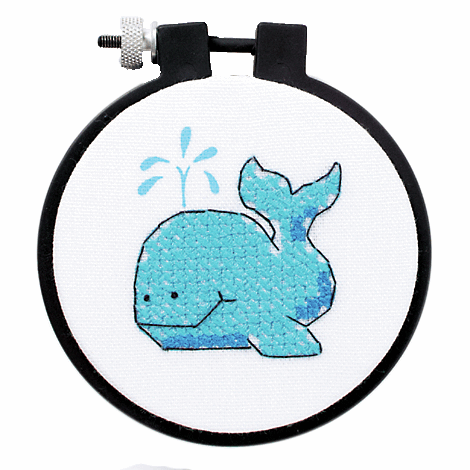 Picture of Learn-a-Craft: Stamped Cross Stitch Kit with Hoop: The Whale
