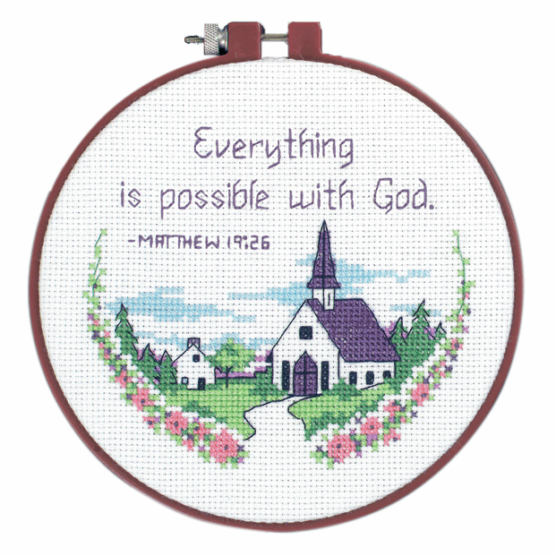 Picture of Learn-a-Craft: Counted Cross Stitch Kit with Hoop: Everything Is Poss