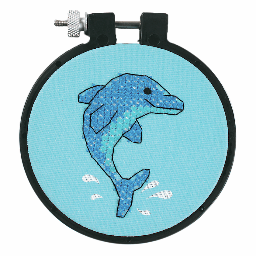 Picture of Learn-a-Craft: Stamped Cross Stitch Kit with Hoop: Dolphin Delight