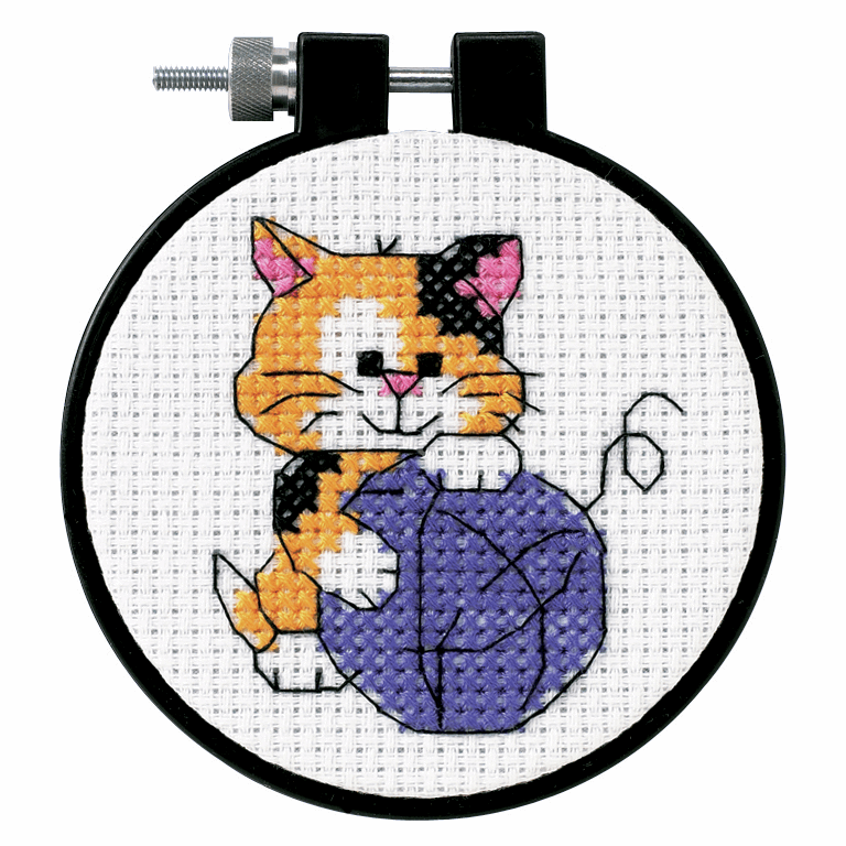Picture of Learn-a-Craft: Counted Cross Stitch Kit and Hoop: Cute Kitty