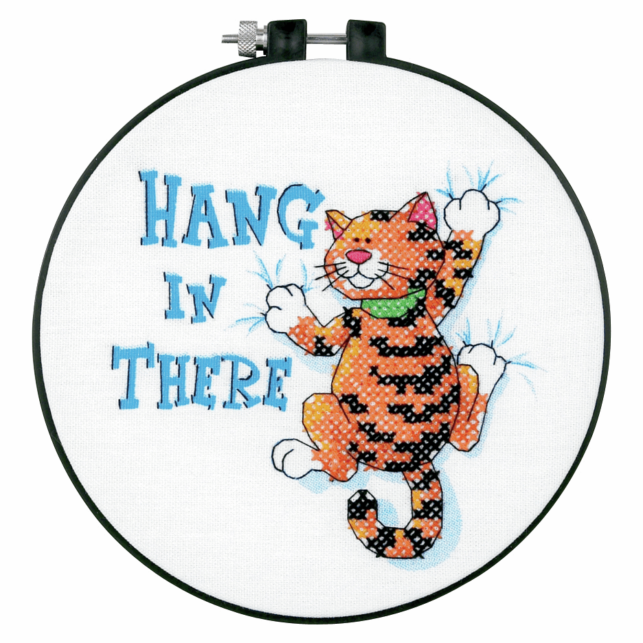 Picture of Learn-a-Craft: Stamped Cross Stitch Kit and Hoop: Hang in There