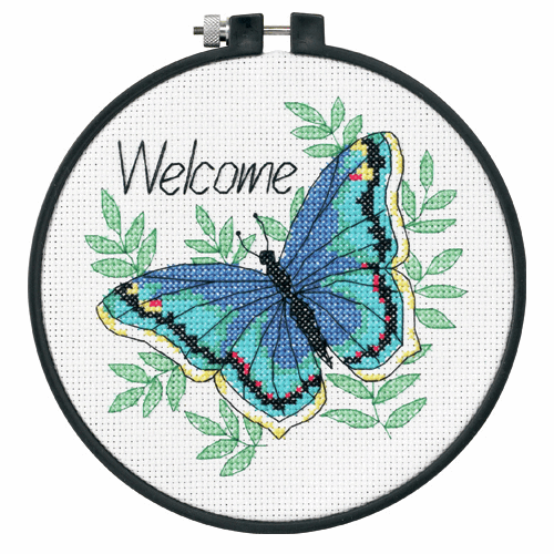 Picture of Learn-a-Craft: Counted Cross Stitch Kit with Hoop: Welcome Butterfly