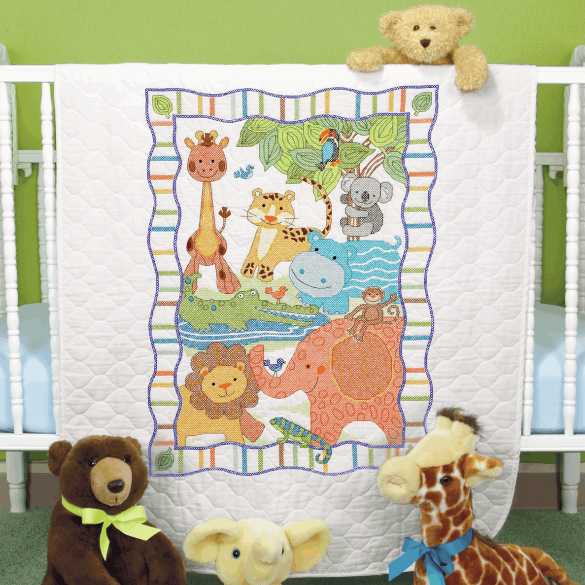 Picture of Stamped Cross Stitch: Quilt: Mod Zoo
