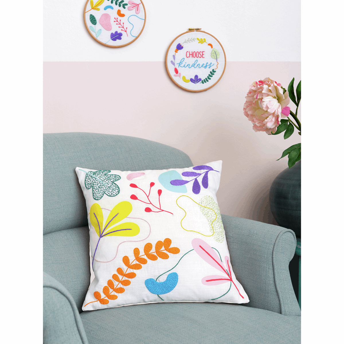 Picture of Embroidery Kit: Cushion: Essentials: Ana Clara: Graphic Floral