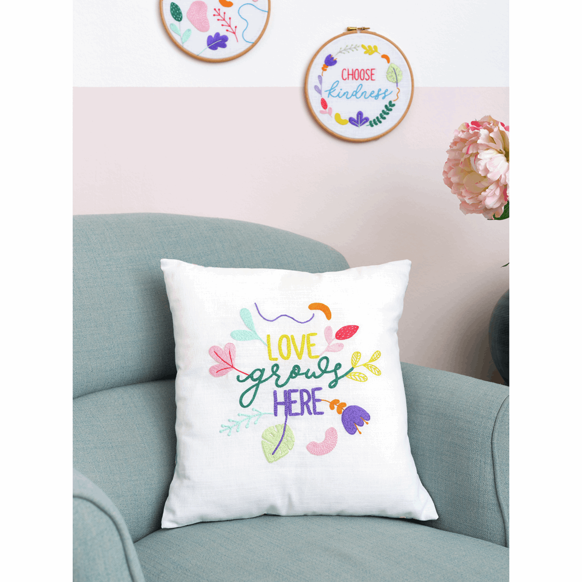 Picture of Embroidery Kit: Cushion: Essentials: Ana Clara: Love Grows