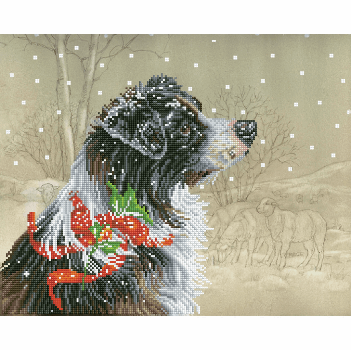 Picture of Diamond Painting Kit: Christmas Collie