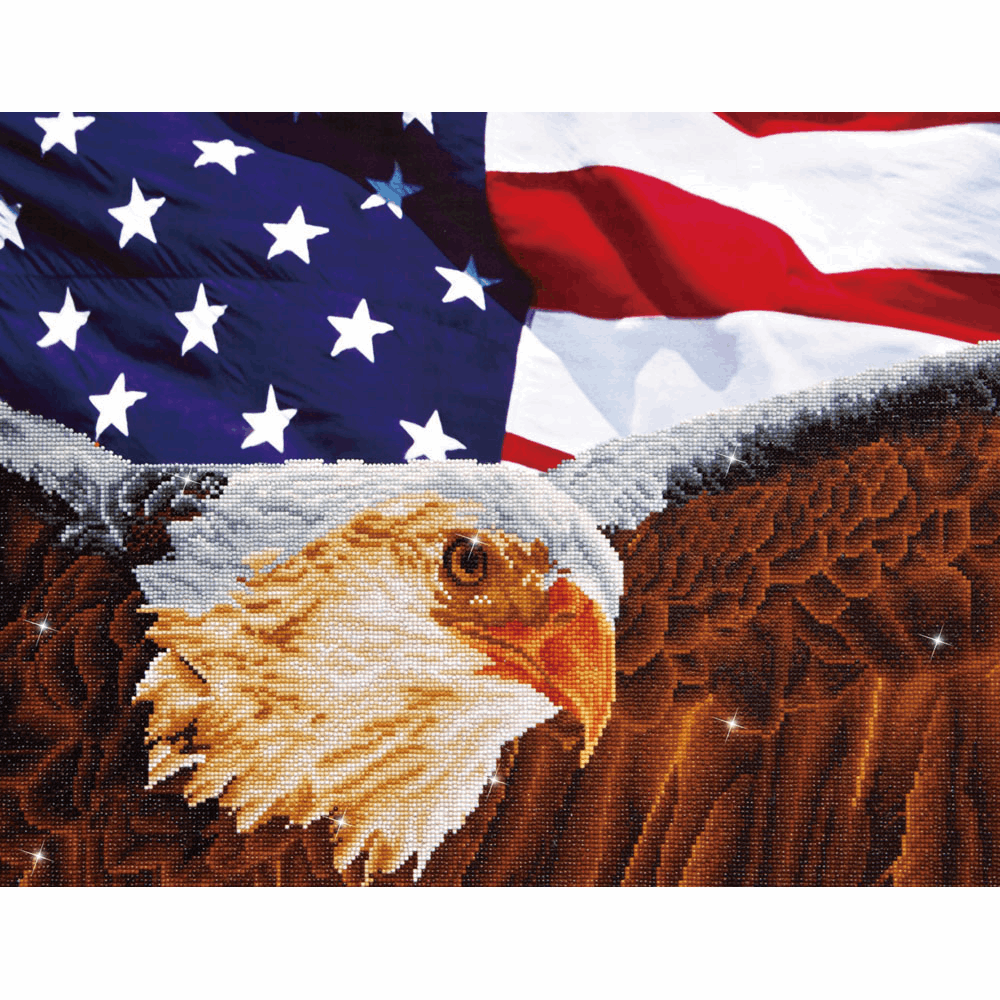 Picture of Diamond Painting Kit: Bald Eagle and Flag