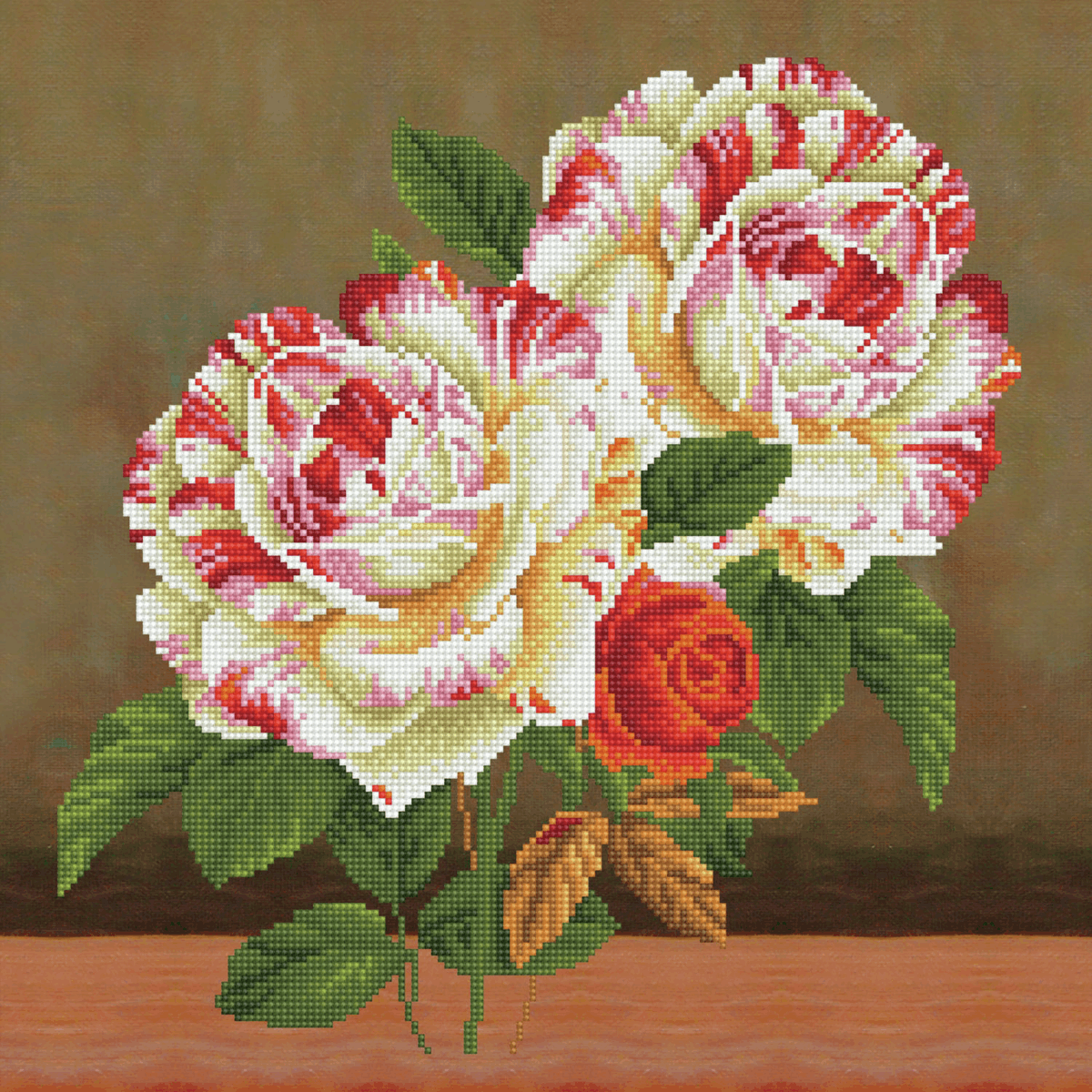 Picture of Diamond Painting Kit: Camellia & Rose Bouquet