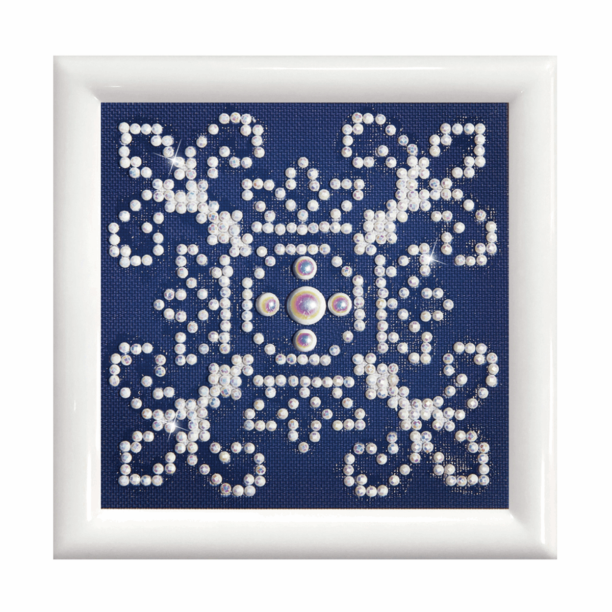 Picture of Diamond Painting Kit: White on Blue: with Frame