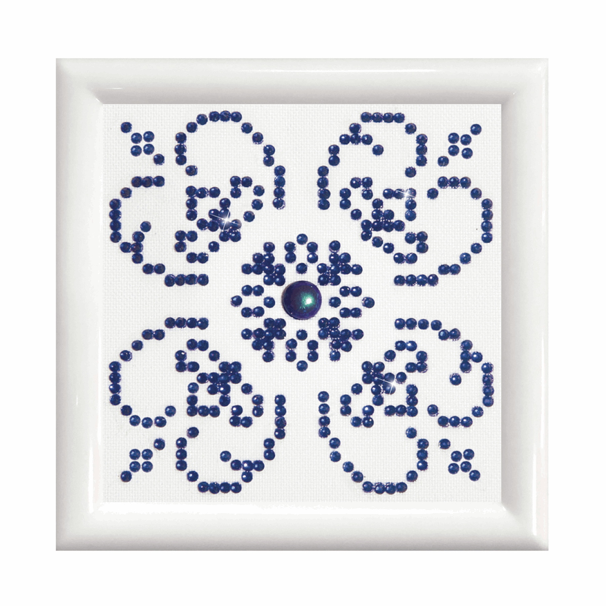 Picture of Diamond Painting Kit: Blue on White: with Frame