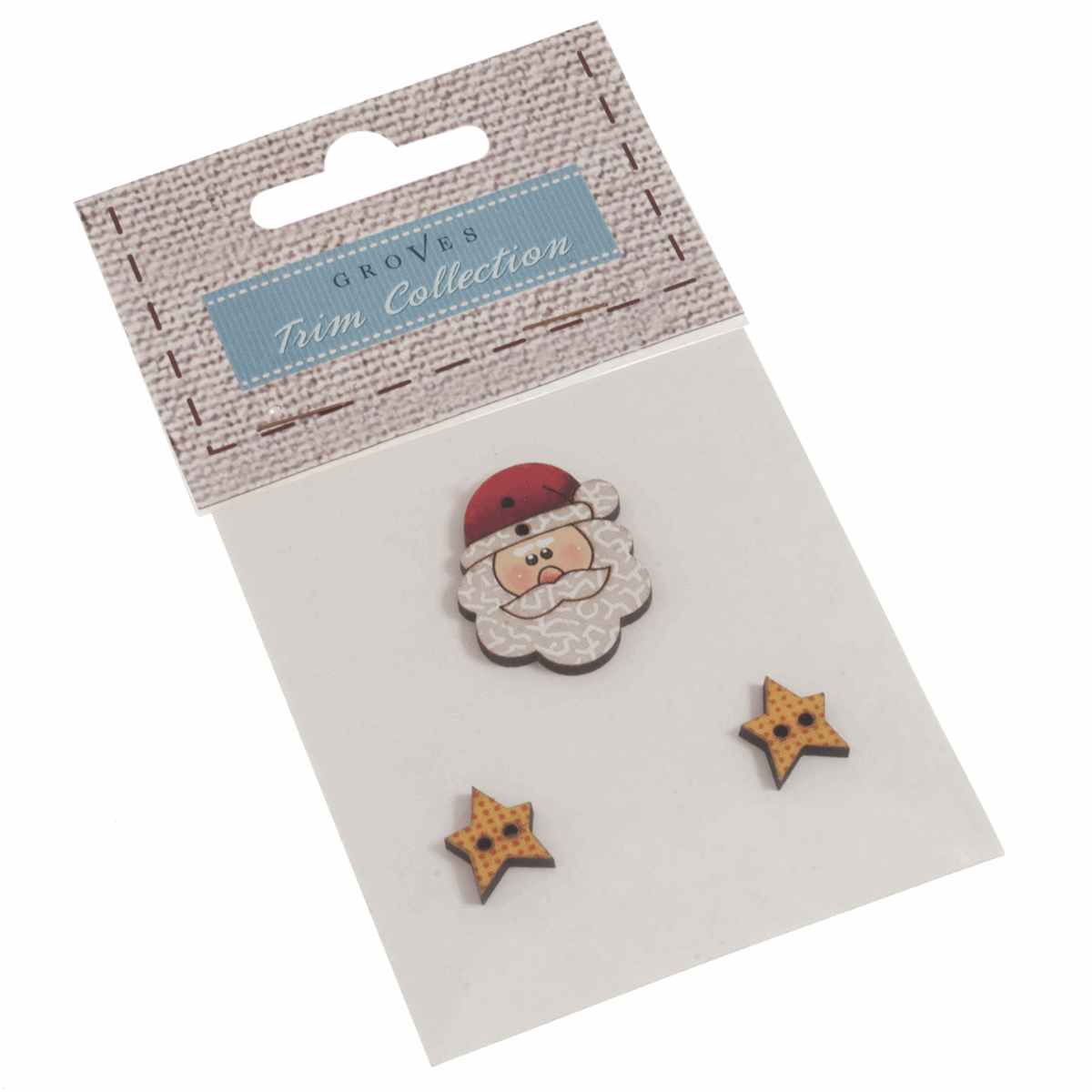 Picture of Carded Buttons: Santa With Stars: Size: 25mm: Pack of 3