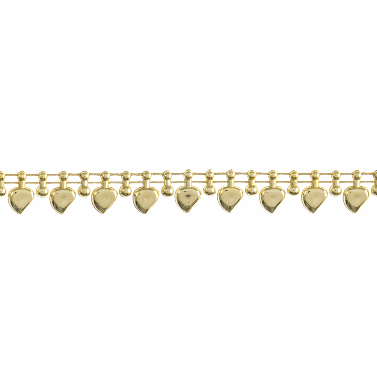 Picture of Pearl Beading: Shaped: Heart Drop: 10m x 12mm: Gold