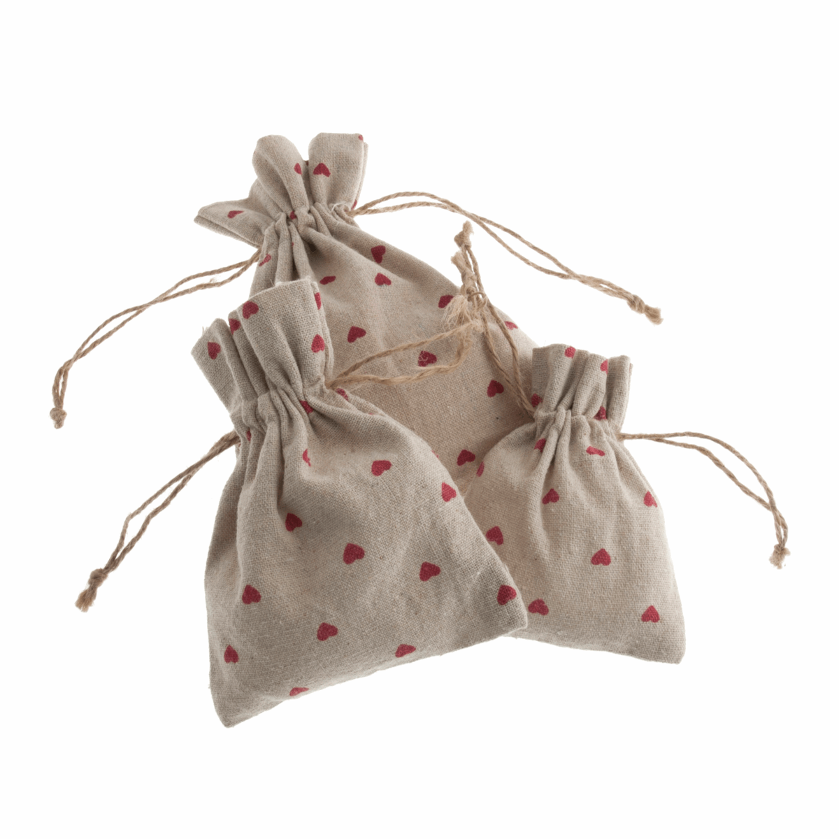 Picture of Natural Linen Bags: Set of 3: Red Heart