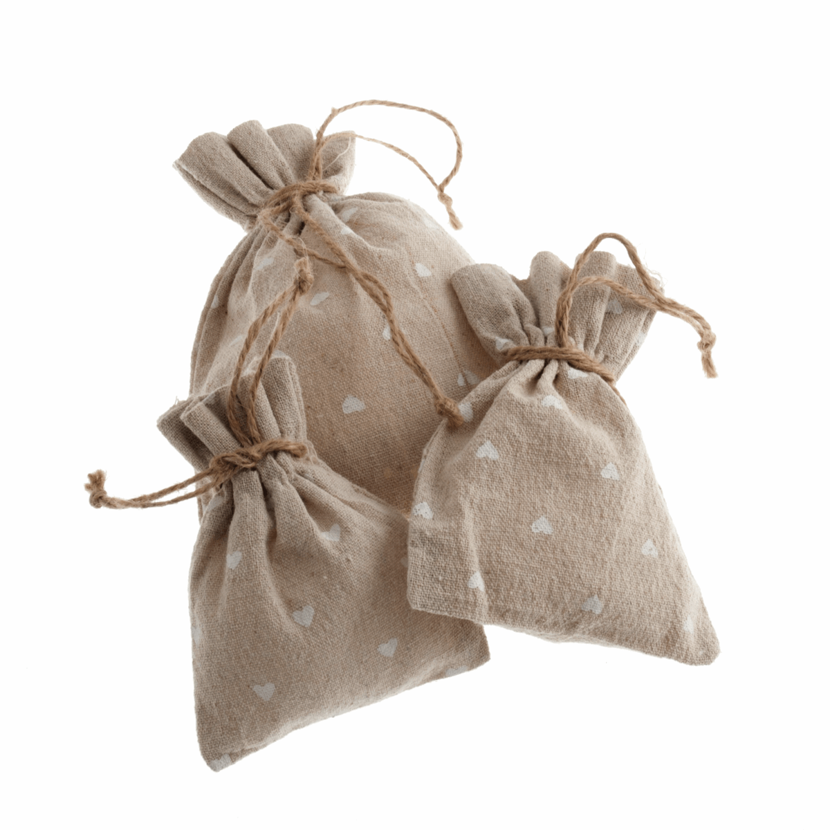 Picture of Natural Linen Bags: Set of 3: White Heart