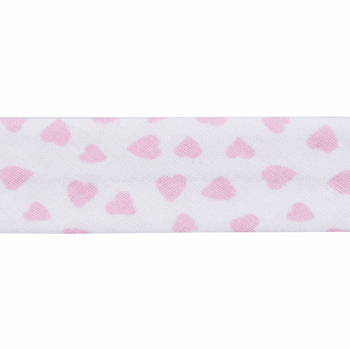 Picture of Bias Binding: Cotton: Printed: Love Heart: 25m x 20mm: Pale Pink