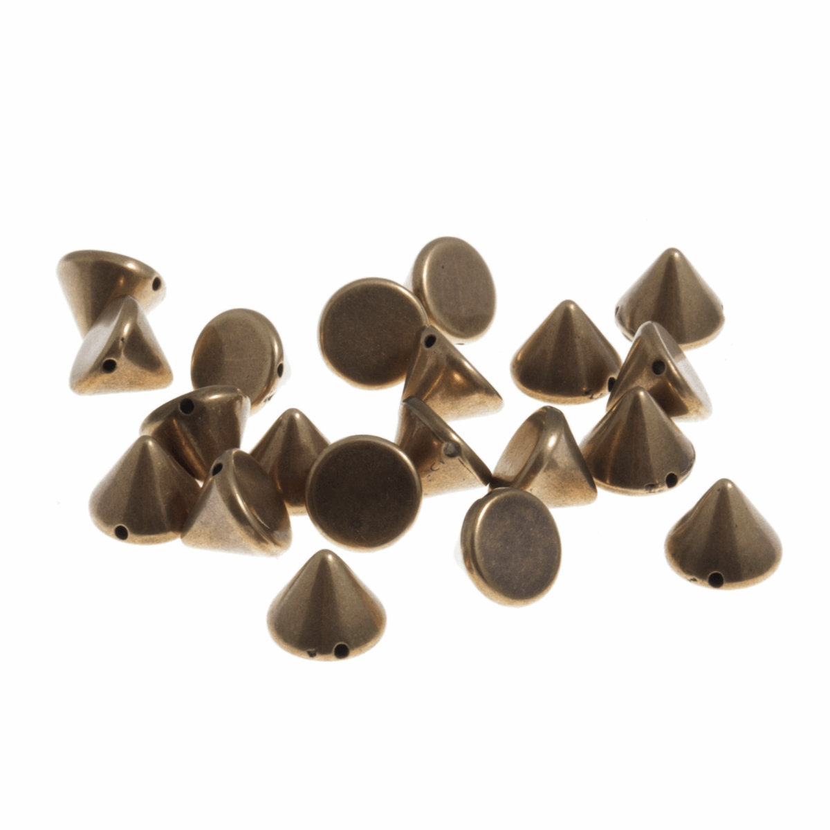 Picture of Studs: Sew-on: Cone: Brass: 10 x 7mm: 50 Pack