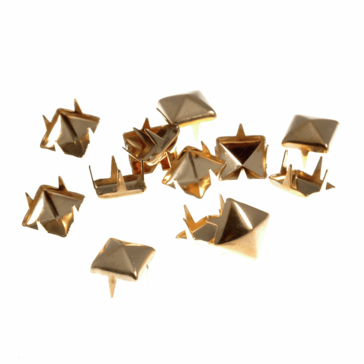Picture of Studs: Claw: Pyramid: Gold: 7 x 7mm: 50 Pack