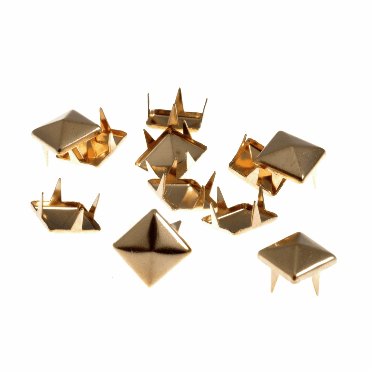 Picture of Studs: Claw: Pyramid: Gold: 9 x 9mm: 30 Pack