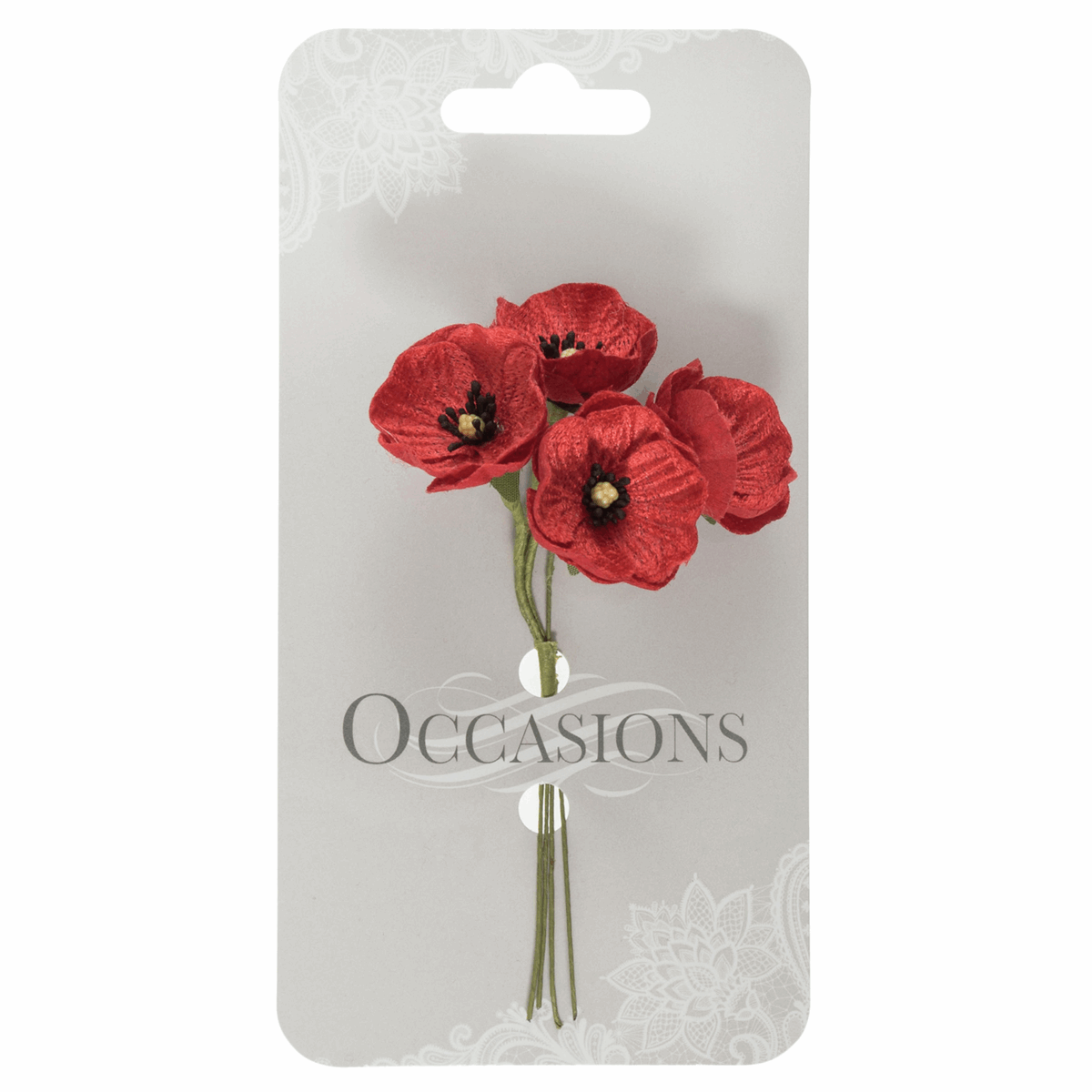Picture of Small Velvet Poppies: 1 Bunch of 4: Red