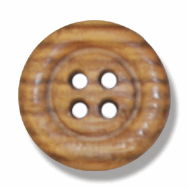 Picture of Olive Wood: 4-Hole Button: 24 lignes/15mm