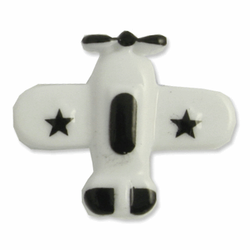 Picture of Airplane Button: 28 lignes/18mm: White