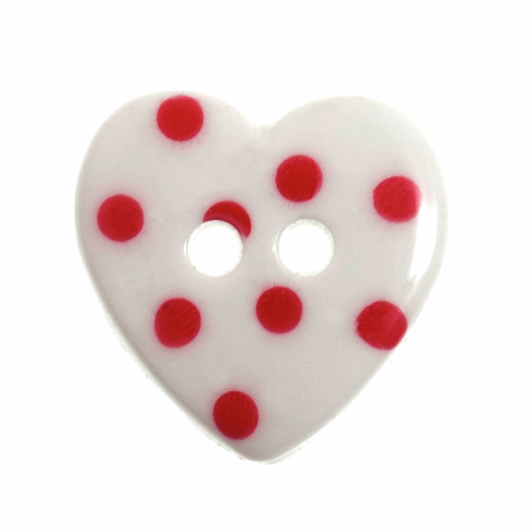 Picture of Dotty Button: Heart: 24 lignes/15mm: White/Red