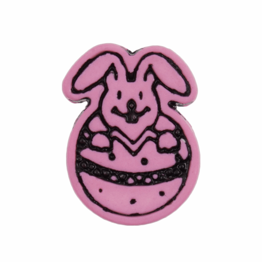 Picture of Easter Bunny Button: Shank: 18mm: Pink