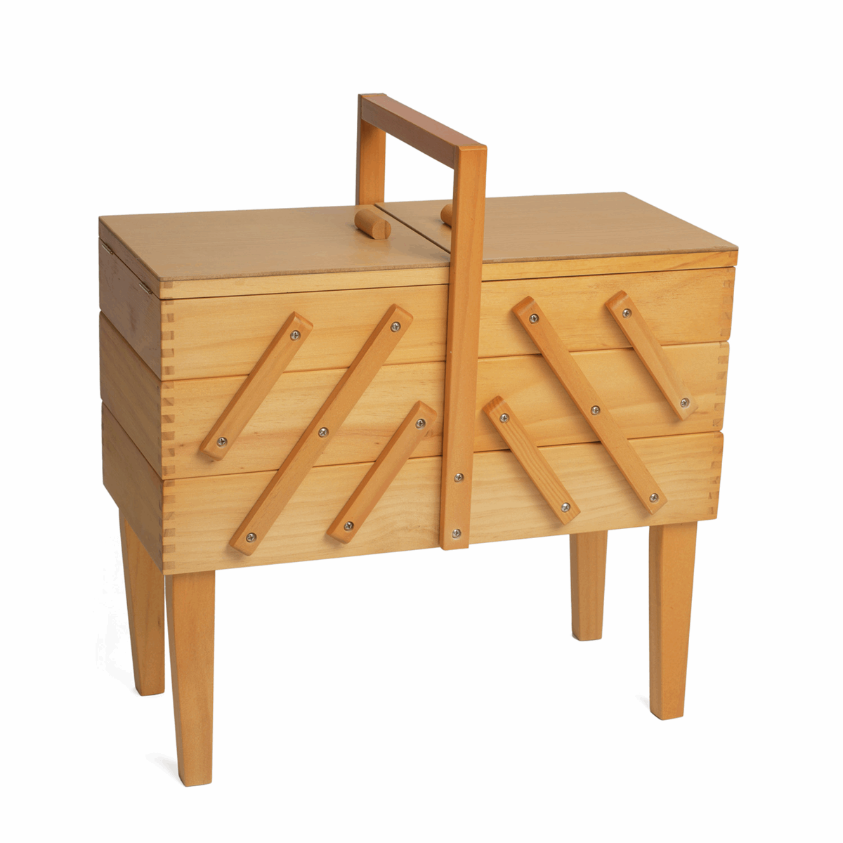 Picture of Sewing Box: Cantilever: Wood: 3 Tier with Legs