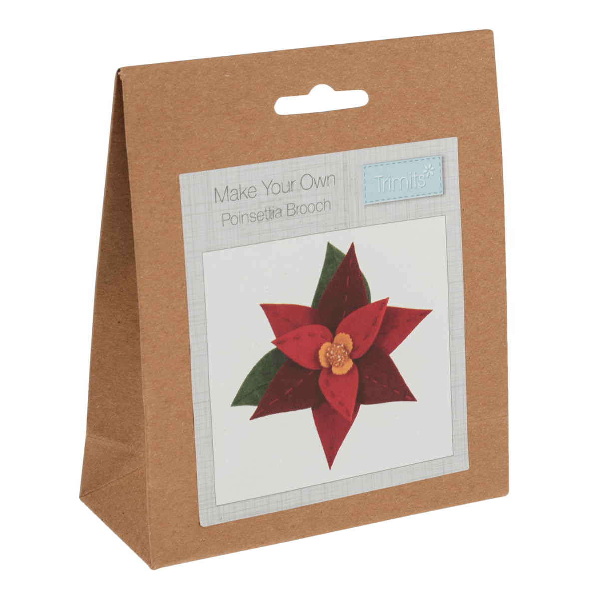 Picture of Felt Decoration Kit: Christmas: Poinsettia Brooch