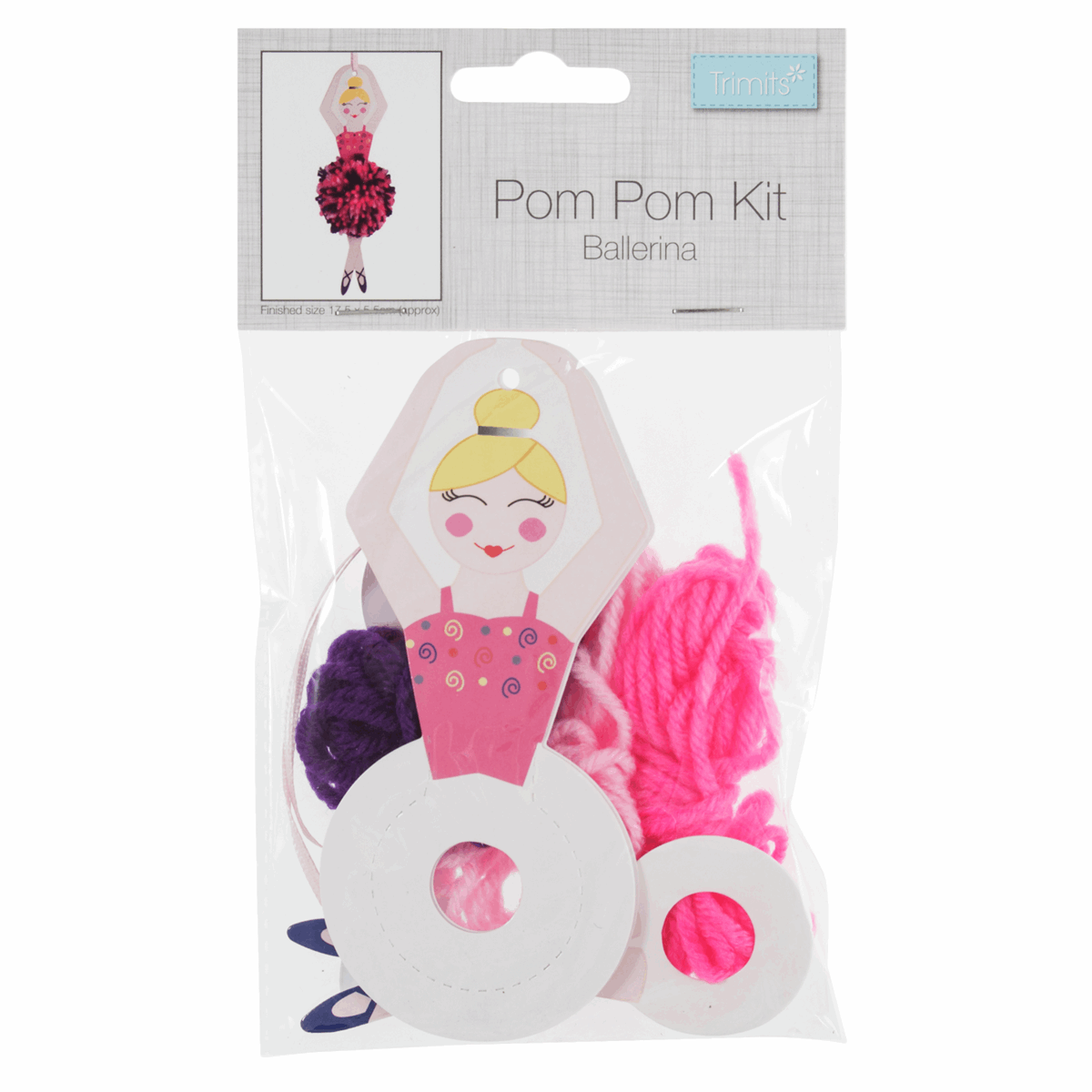 Picture of Pom Pom Decoration Kit: Christmas: Sugar Plum Fairy: Pack of 4