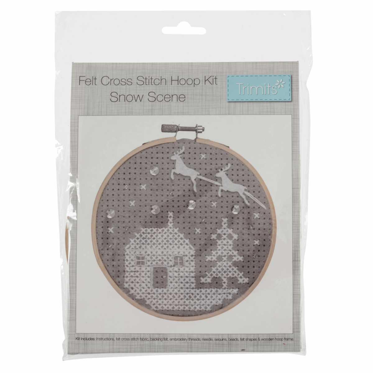 Picture of Cross Stitch Kit with Hoop: Snow Scene