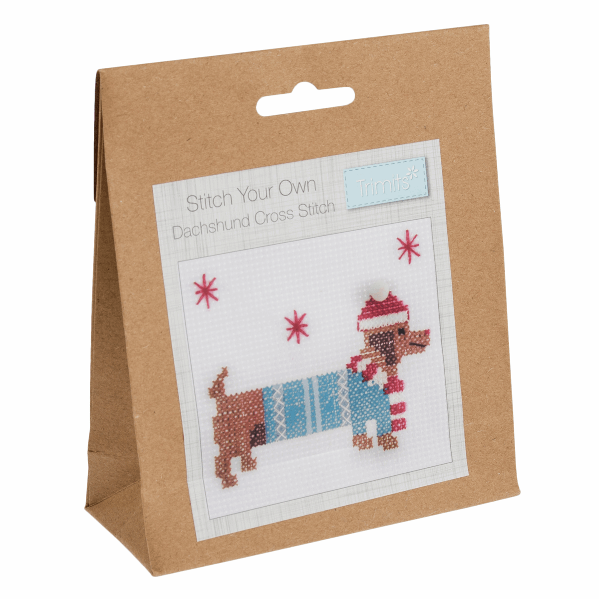 Picture of Mini Counted Cross Stitch Kit: Festive Daschund