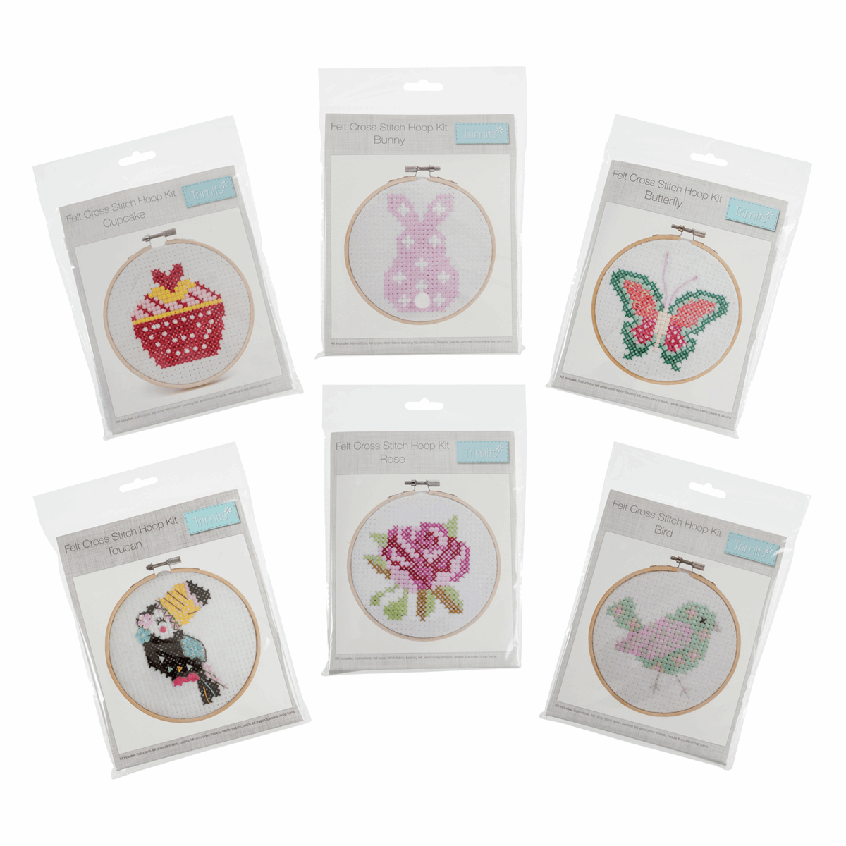 Picture of Cross Stitch Kits with Hoop: Assortment: Pack of 12