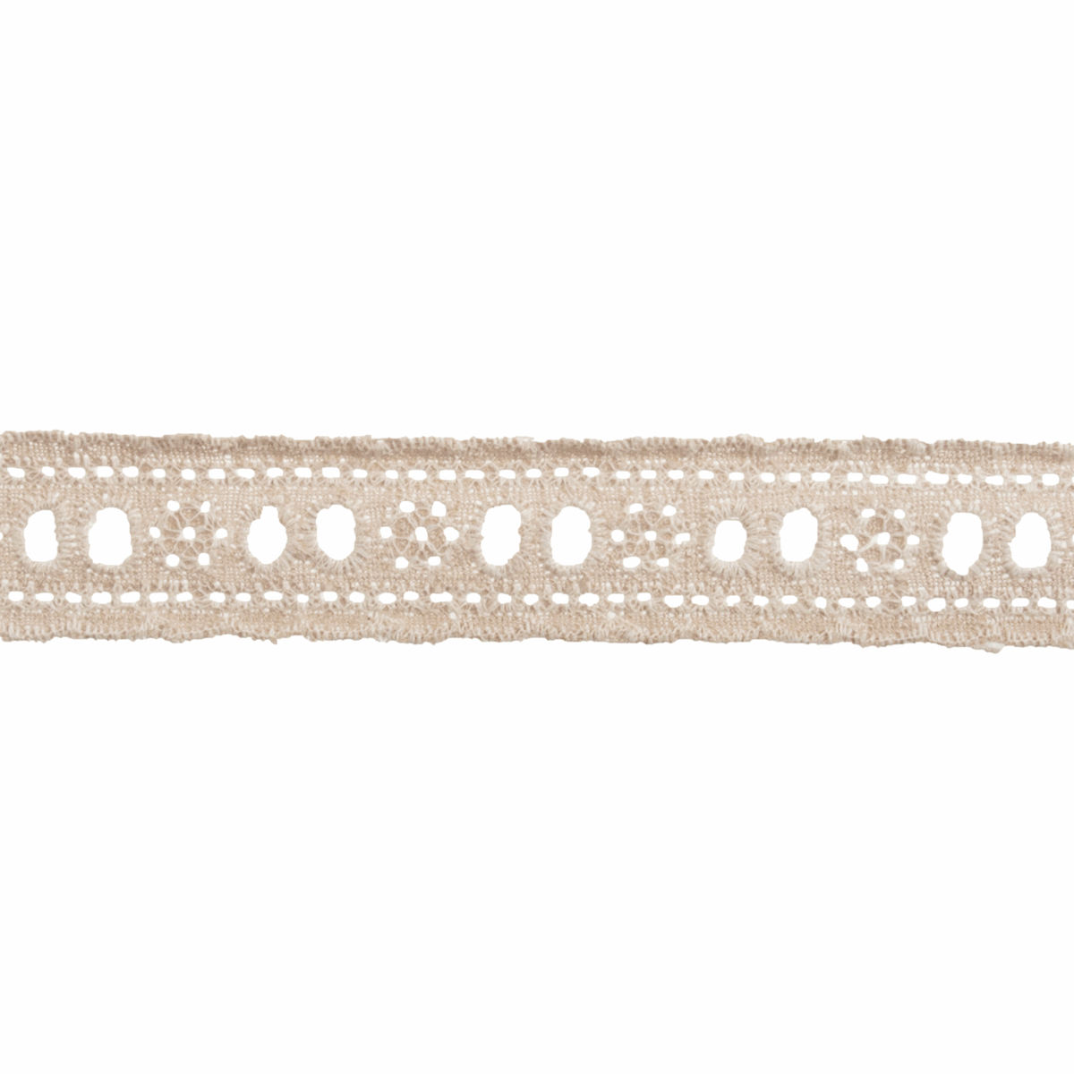 Picture of Ribbon: Linen: Broderie Anglaise Lace: 13.5m x 26mm