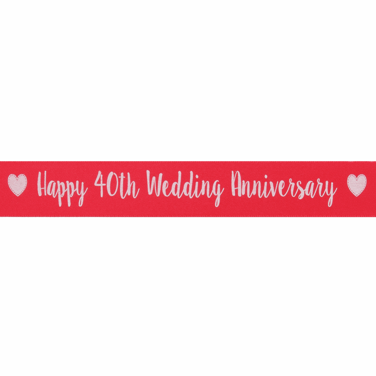 Picture of Ribbon: Happy 40th Anniversary: Satin: 20m x 25mm